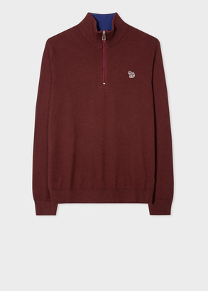 Men's Burgundy Zebra Logo Cotton-Blend Zip-Neck Sweater
