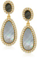 Freida Rothman Grey Mother-Of-Pearl Double Drop Earrings