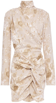 Magda Butrym Trieste Draped Floral-print Stretch-silk Mini Dress