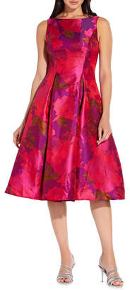 Adrianna Papell Tea Length Jacquard Dress