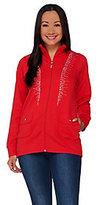 As Is Quacker Factory Princess Seam Rhinestone Zip Front Jacket