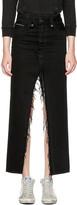 Unravel Black Long Distressed Denim Skirt