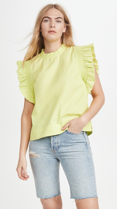 ENGLISH FACTORY Ruffle Sleeve Poplin Blouse