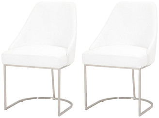 One Kings Lane Set of 2 Sally Dining Chairs - White/Silver