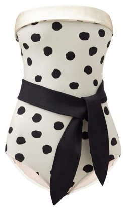 Adriana Degreas Pois Strapless Polka-dot Swimsuit - Cream Print