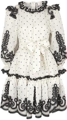 Zimmermann Lovestruck ivory polka-dot linen-blend mini dress