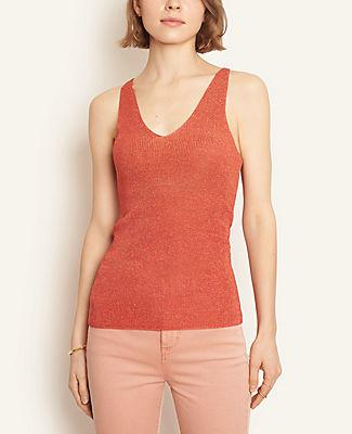 Ann Taylor Shimmer V-Neck Sweater Tank