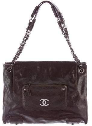 Chanel Glazed Calfskin Accordion Flap Bag