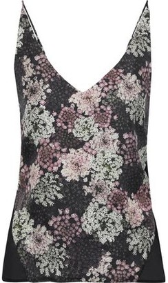 J Brand Lucy Floral-print Silk-twill And Chiffon Camisole