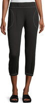 Allen Allen Contrast-Trim Crop Lounge Pants