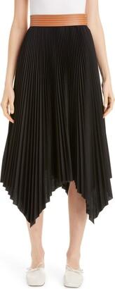 Loewe Leather Band Asymmetrical Pleated Midi Skirt