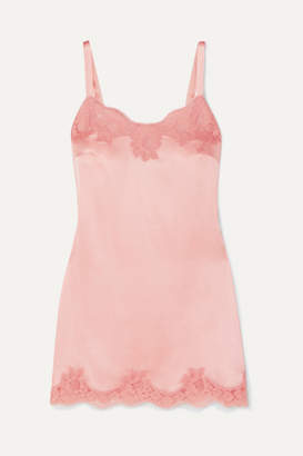 Dolce & Gabbana Lace-trimmed Silk-blend Satin Chemise - Pink