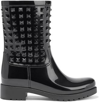 Valentino Rockstud Glossed-rubber Rain Boots