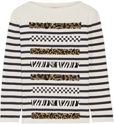 Marc Jacobs Embellished Striped Cotton And Cashmere-blend Sweater - Cream