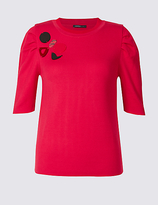 Limited Edition Embellished Round Neck Puff Sleeve Jumper