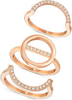 Swarovski Rose Gold-Tone 3-Pc. Set Interlocking Crystal Pavé Rings