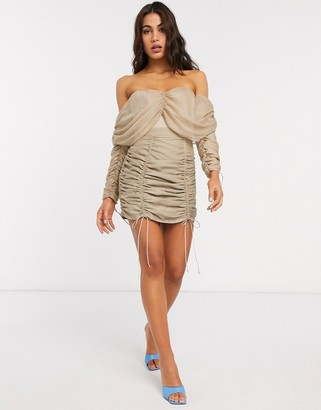 Asos DESIGN ruched mini skirt co-ord in stone