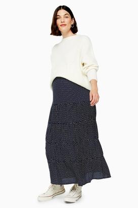 Topshop Womens **Maternity Spot Pattern Tiered Maxi Skirt - Navy Blue
