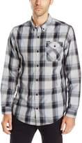 Burnside Men's Choice Longe Sleeve Button Down Woven Shirt, Light Grey, 4XL