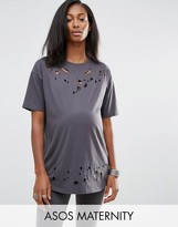 Asos T-Shirt in Boyfriend Fit with Distressed Detail and Nibbling