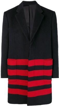 Calvin Klein stripe detail single-breasted coat