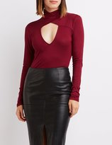 Charlotte Russe Wrapped Mock Neck Bodysuit