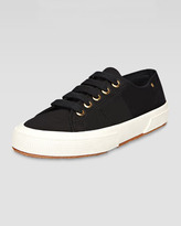 Superga Low-Top Faille Lace-Up Sneaker, Black