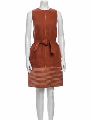 Ralph Rucci Linen Knee-Length Dress Brown