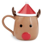 Mud Pie Reindeer Ceramic Mug & Lid