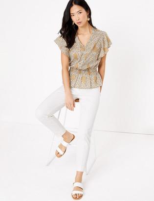 Marks and Spencer Pure Cotton Floral V-Neck Short Sleeve Blouse