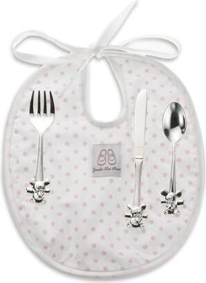 English Trousseau Kids Cutlery And Bib Set (Pink)