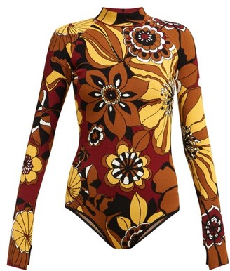 Kwaidan Editions High-neck Floral-jacquard Bodysuit - Brown Multi