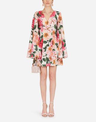 Dolce & Gabbana Short Crepe De Chine Dress With Camellia Print