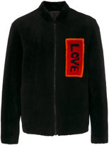 Fendi love patch bomber jacket - men - Lamb Fur/Lamb Skin - 48