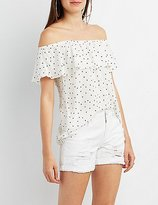 Charlotte Russe Star Print Off-the-Shoulder Top