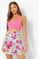 Thumbnail for your product : boohoo Floral Print Split Detail Mini Skirt
