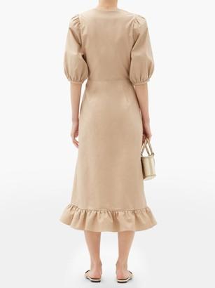 Adriana Degreas Tie-front Cutout Cotton-blend Midi Dress - Beige