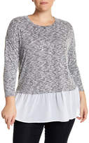 Bobeau Hacci Heathered Knit Sweater (Plus Size)