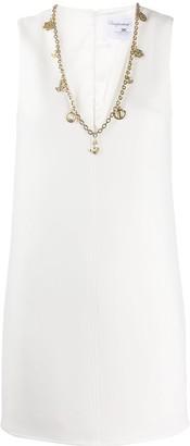 Elisabetta Franchi chain trim V-neck shift dress