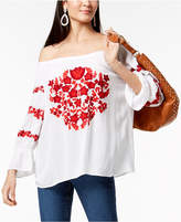INC International Concepts I.n.c. Petite Embroidered Gauze Off-The-Shoulder Top, Created for Macy's