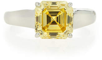 FANTASIA Square-Cut Canary CZ Solitaire Ring