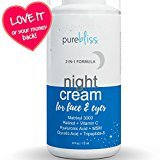 Pure Bliss Night Cream Moisturizer for Face & Eyes with Vitamin C, Peptides, Retinol, Hyaluronic and Glycolic Acid. Best Anti Aging Ingredients for Repairing & Firming Skin & Preventing Wrinkles
