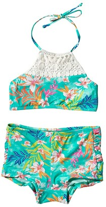 Hobie Kids Tropical Tie-Dye High Neck Bralette and Boyshort Bottoms (Big Kids) (Seabreeze) Girl's Swimwear Sets