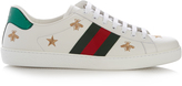 Gucci Bee and star-embroidered low-top leather trainers