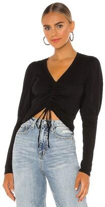 Bobi Light Weight Jersey Ruched Long Sleeve Top