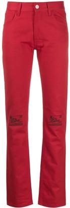 Raf Simons floral knee denim jeans