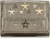 Jimmy Choo NEMO Anthracite Glitter Leather Wallet with Metallic Multi Metal Stars