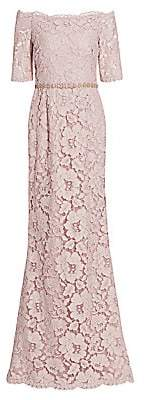 Teri Jon by Rickie Freeman Women's Off-the-Shoulder Embellished Lace Gown