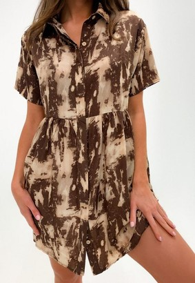 Missguided Brown Tie Dye Shirt Smock Dress
