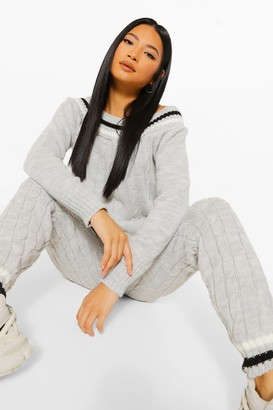 boohoo Petite Cable Knit Stripe Bardot Co-ord